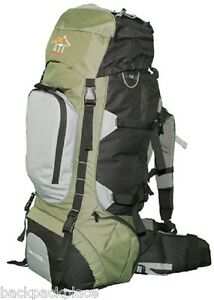 NEW 80L Internal Frame Camping Hiking Backpack Green with Rain Fly