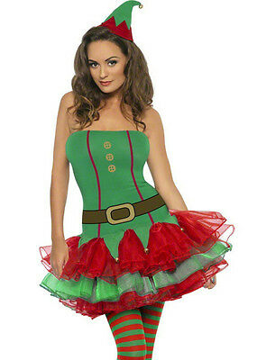 Womens Fever Sexy Red and Green Elf Tutu Dress Adult Costume Size Large