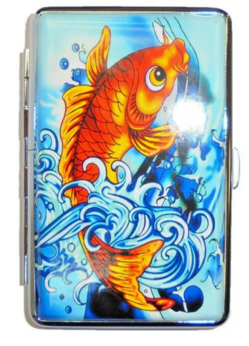 Eclipse Koi & Waves Crushproof Metal Leatherette Cigarette Case, 100s, L14Tat