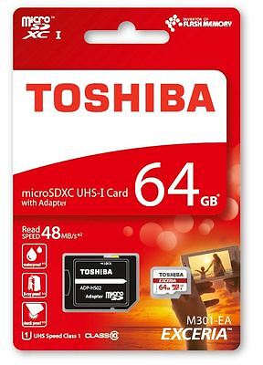 TOSHIBA MICRO SD 64GB CLASSE 10 CLASS SDXC SCHEDA DI MEMORIA CARD 48MB/S