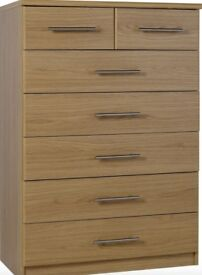 New HOME Normandy 5+2 Drawer Chest of Drawers Oak
