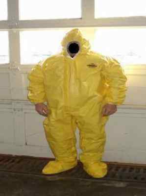 Lakeland 70150 Coveralls Yellow Hood Boots Large Dupont Tyvek Qc Hazmat Suit