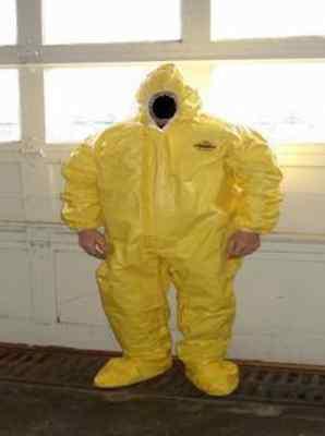 Lakeland 70150 Coveralls Yellow Hood Boots Large Dupont Tyvek Qc Hazmat Suit