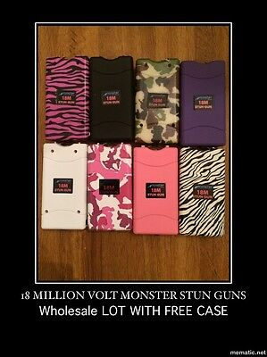 (12) Stun Gun LOT OF  MONSTER 18 MIL STUN GUN WITH LED LIGHT- Wholesale Lot