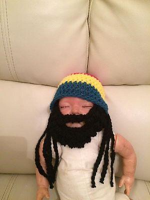 handmade crochet rasta hat dreadlocks beard bob marley - Rasta Baby Kostüm