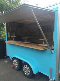 12ft Trailer, full length side hatch, small back door, Electric Sockets, Security camera