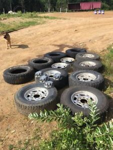 """8-16"""" wheels 4 centres for 3/4 ton Chevy 2 new retreads 2 used"""