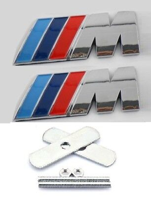 2x BMW M Sport Silver Front Grill & Rear Boot Badges Metal Chrome 3D Logo Top UK