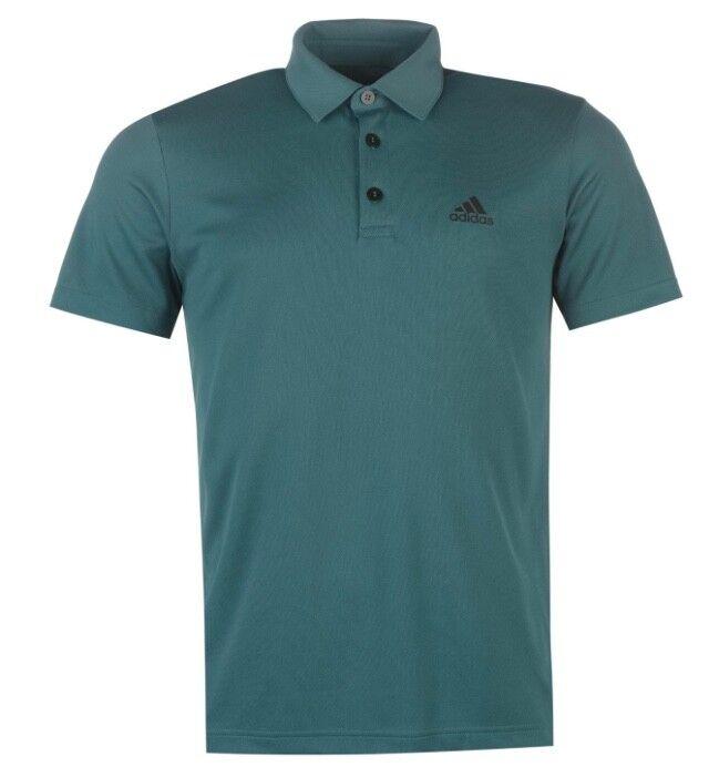 Adidas Herren Golf Sport Tennis Polo Shirt Grün Schwarz alle Größen Neu