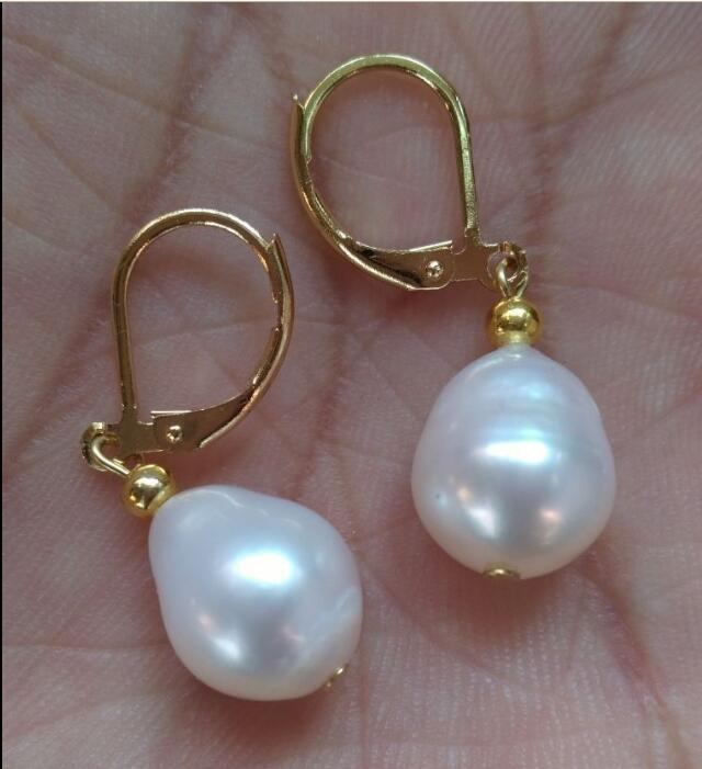 AAA  WHITE south sea  PEARLS EARRING 14K GOLD clasp 7-11 mm
