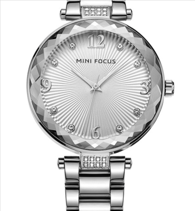$37.65 - Ladies Quartz Watch Silver Stainless Steel Strap Luxury Dress & Casual Watch