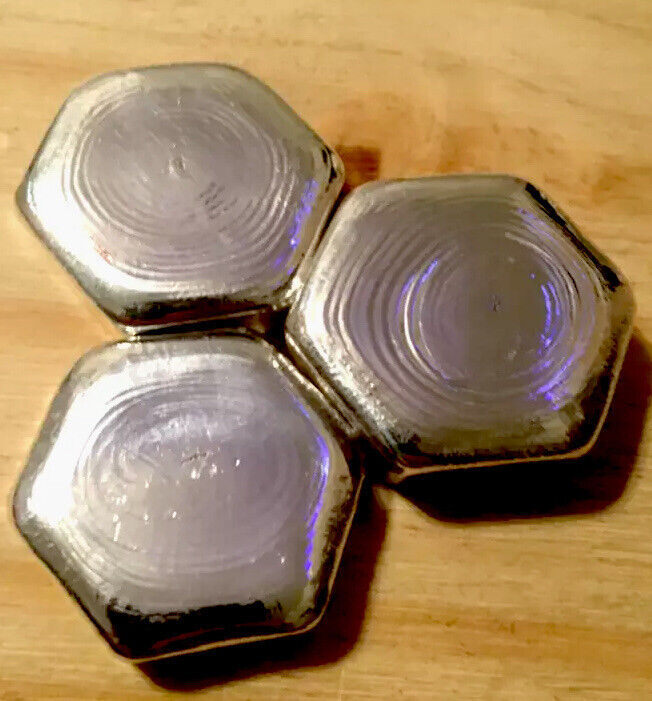 3 LOT .999 SILVER HAND POURED POLISHED STAMPED HEXAGON BARS TOTAL 6.50 TROY OZ
