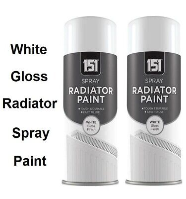 2 x Radiator Spray Paint Quick Dry Resistant Non Yellowing White Gloss - 200ml