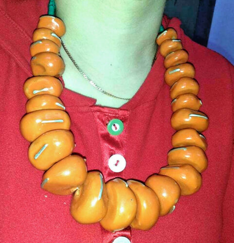 Moroccan Berber Amber Necklace Ethnic Tribal Pendant Beads Handmade metal insert