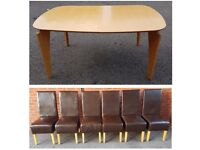 Modern Extending Table & 6 Brown High Back Faux Leather Chairs FREE DELIVERY 691