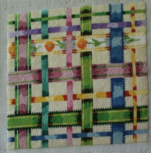 Multi Colored Ribbon Flowers Pink Blue Su Tes Needlepoint Completed Finished