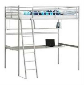 Ikea Loft Bunk Bed Frame with desk and shelf
