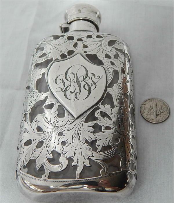 Antique 1/8 Pint Sterling Silver Overlay Glass Spirit Liquor Hip Flask c1895