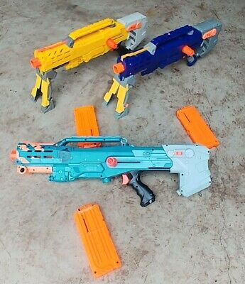 Set of 3 Nerf Longshot CS-6 Blue Yellow Zombie Version Dart Gun W/Magazines