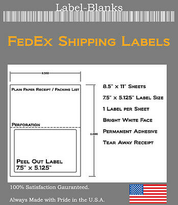 250 Fedex Shipping Labels  Label With Tear Off Receipt  Laser Ink Jet 5327 5127