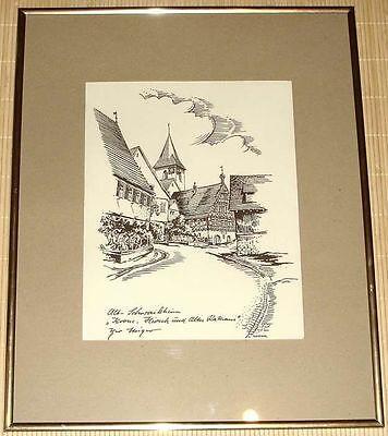 Bild, Radierung - ALT-SCHWAIKHEIM - Krone, Hirsch und altes Rathaus Theo Steiger