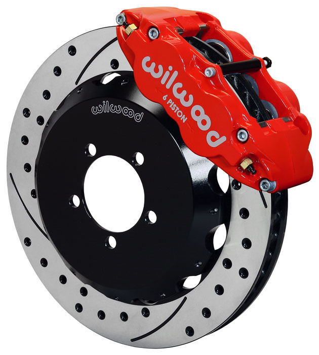 """Wilwood Disc Brake Kit,front,fits Subaru,13"""" Drilled Rotors,red Calipers,12874dr"""