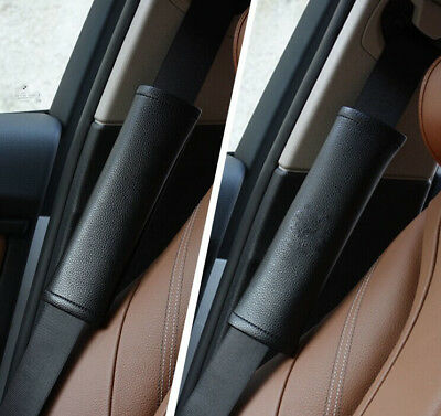 2Pcs Car Auto Seat Belt Shoulder Pads Cushion Black Leather To Protect