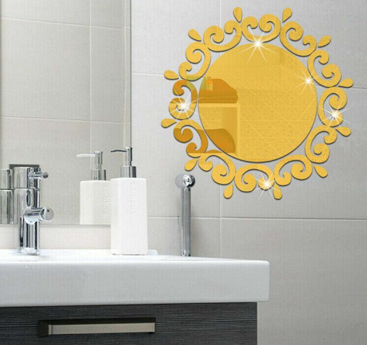 Modern 3D Mirror Wall Sticker Wall Art Decals Removable Home Bathroom Decor