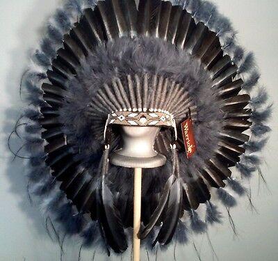 Native American Grey Wolf War Bonnet Feather Headdress