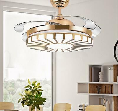 Modern Gold Invisible Ceiling Fan Light Chandelier Pendant Fan LED Lamp 42