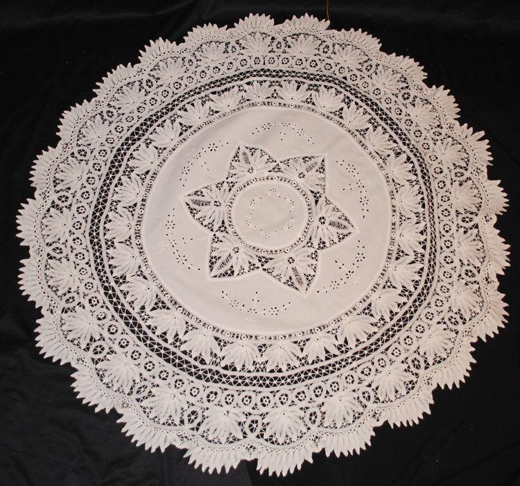 "Victorian Battenburg Tape Lace Tablecloth  52"" Round"