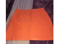 River Island faux leather orange skirt