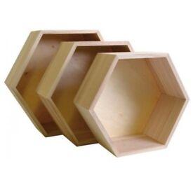 3 Hexagonal / honeycomb wood shelves - Decoration scandinavian home
