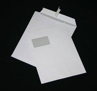 250 St. Versandtaschen DIN A4 C4 weiß mit Fenster Briefumschläge Kuvert HK Post