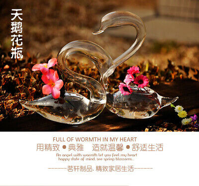 1 Pair Glass Swan Flower Planter Hydroponic Vase Wedding Home Decor Gift