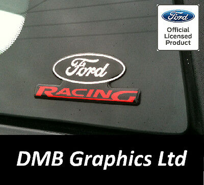 Ford Racing GEL Domed Pillar Badges x2 Focus Fiesta ST RS ZS Puma Decals