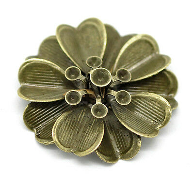 20 New Bronze Art Deco Flower Embellishments Findings Diy Jewelry Making
