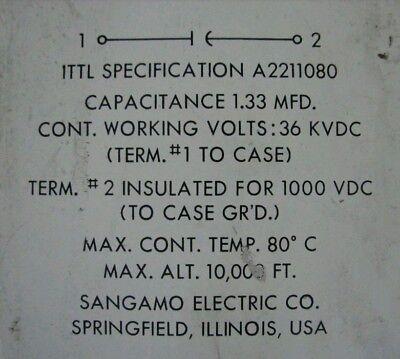 1.33mfd 36000 Volt Capacitor Tesla Coil Sangamo Electric