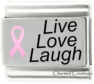 Live Love Laugh Pink Ribbon Breast Cancer Awareness 9mm Italian Charm Link