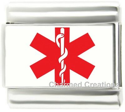 Medical Alert Red Star Of Life Caduceus 9mm Italian Charm For Your ID Bracelet (Live Italian Charm)