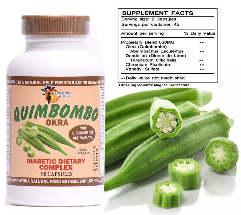 SUNSHINE NATURALS Quimbombo (Okra) Diabetic Dietary Supplement 90 caps  1