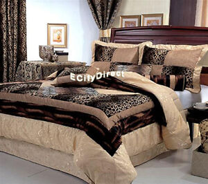 7pcs Brown Micro Fur Leopard Tiger Patchwork Bed in a Bag Comforter Set King