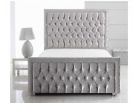 Princess silver crushed velvet bed with 54 inch high headboard & 10 inch memory foam mattress