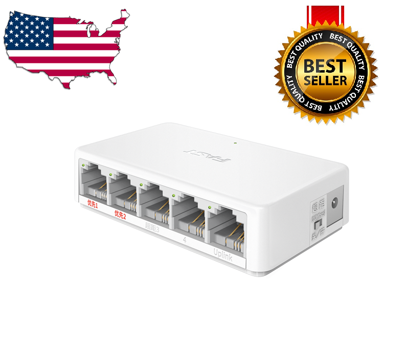 New RJ45 MINI 5-Ports Fast Ethernet Network Black Switch Hub