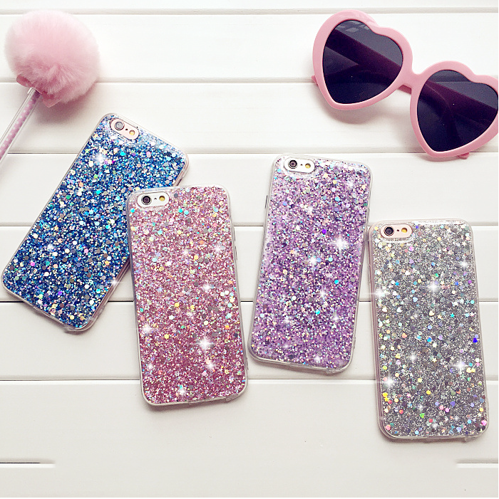 New Bling Glitter Sparkle Girls Soft Phone Case Cover For iPhone 7 7P 6 6s SE 8+