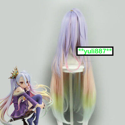No game no life Shiro Cosplay Hair Wig Gradient Colour Mixture Anime Figure Ver.