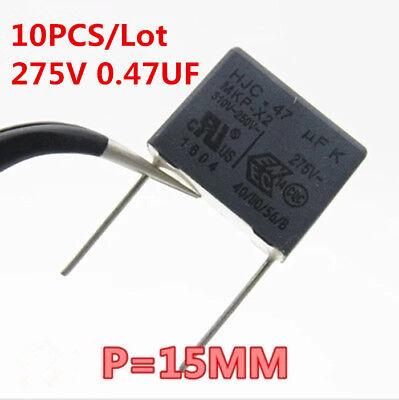 10pcs Hjc 275vac 0.47uf 474 Mkp X2 250v-310v 15mm Polypropylene Film Capacitor