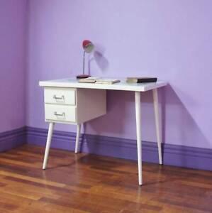 Vintage Retro Mid Century White Desk ◆Study Students ◆World Map