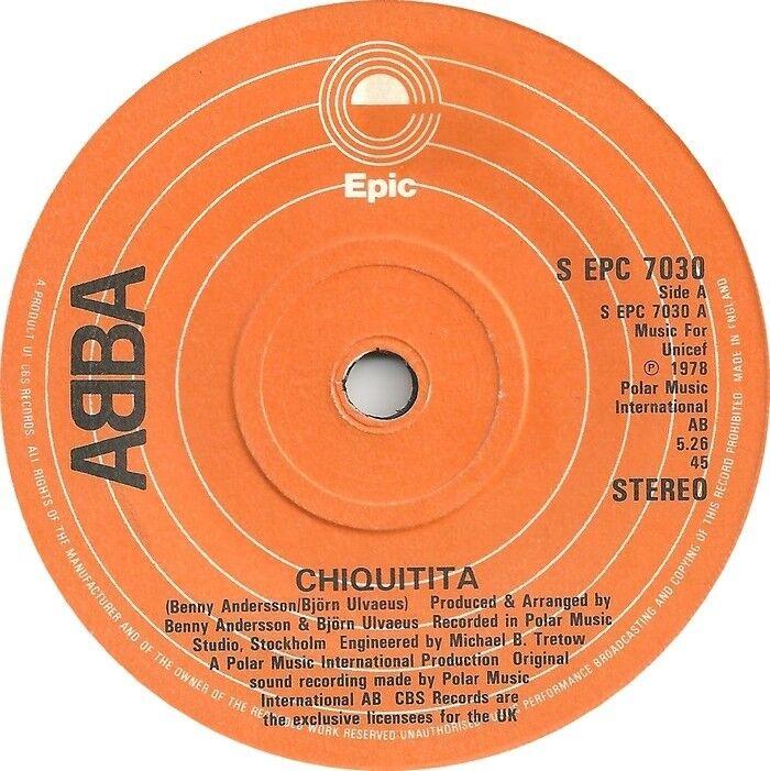 """ABBA Chiquitita 1978 UK  7"""" Vinyl  45rpm Ex Condition"""