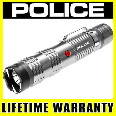 Police Silver Stun Gun M12 550 Bv Metal Rechargeable Led Flashlight